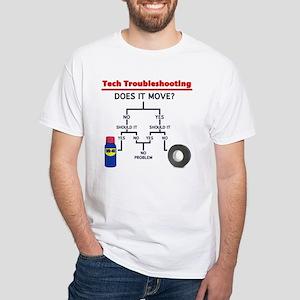 Tech Troubleshooting Flowchart White T-Shirt