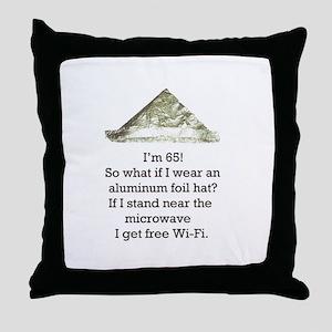 65th Birthday Aluminum Foil Hat Throw Pillow