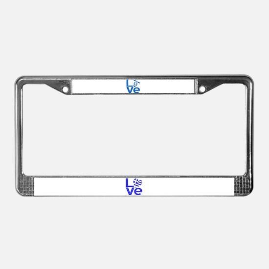 Israeli Blue LOVE License Plate Frame