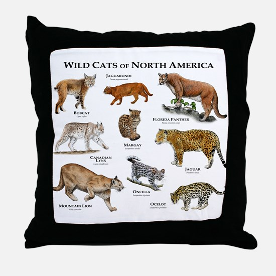 Wildcats of North America Throw Pillow