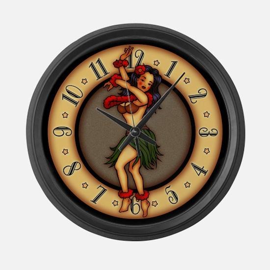 Retro Hula Tattoo Art Large Wall Clock