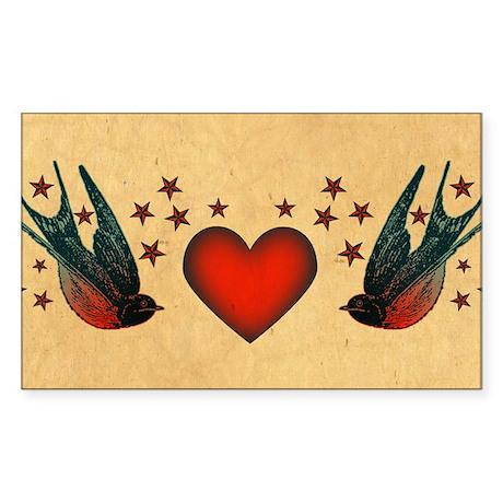 Retro Swallows And Stars Heart Sticker (Rectangle)