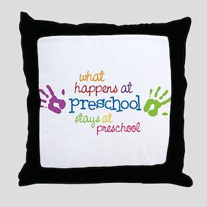 Stays At Preschool Throw Pillow