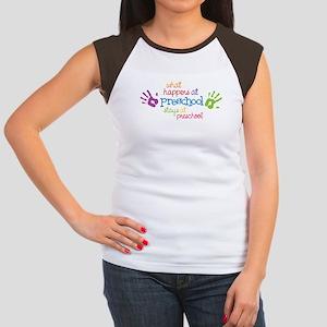 Stays At Preschool Women's Cap Sleeve T-Shirt