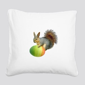 Easter Squirrel Rainbow Egg Square Canvas Pillow