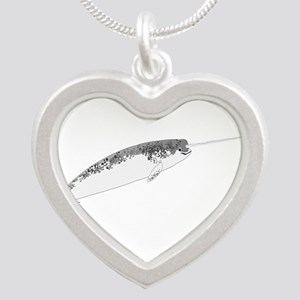 Narwhal whale bbg Silver Heart Necklace