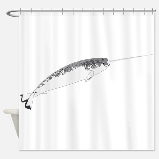 Narwhal whale bbg Shower Curtain
