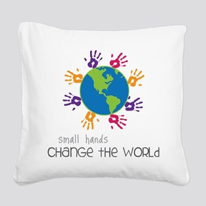 Small Hands Square Canvas Pillow
