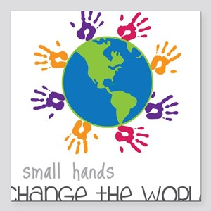 """Small Hands Square Car Magnet 3"""" x 3"""""""