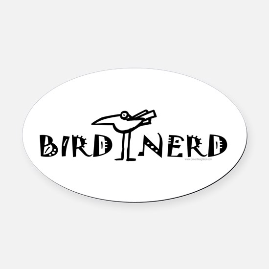 Birdwatching Oval Car Magnet
