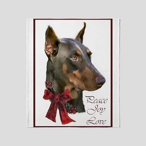Doberman Pinscher Christmas Throw Blanket