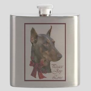 Doberman Pinscher Christmas Flask