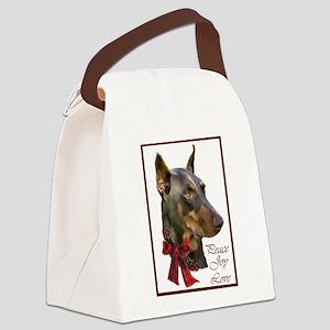 Doberman Pinscher Christmas Canvas Lunch Bag