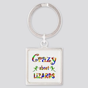 Crazy About Lizards Square Keychain
