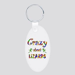Crazy About Lizards Aluminum Oval Keychain