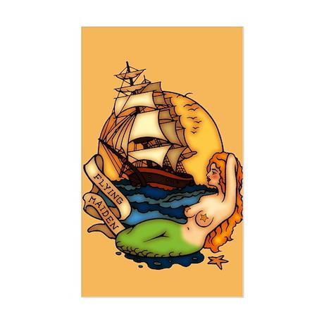 Pirate Ship Mermaid Tattoo Art Sticker (Rectangle)