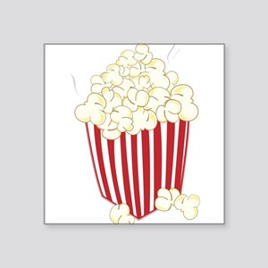 "Bucket Of Popcorn Square Sticker 3"" x 3"""