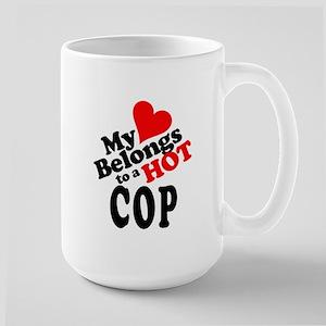 My Heart Belongs to a HOT Cop! Large Mug