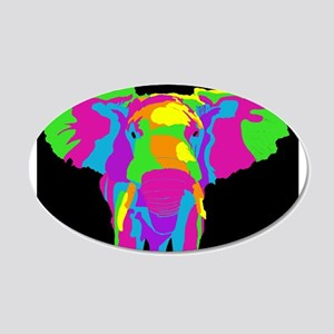 Rainbow Elephant 20x12 Oval Wall Decal