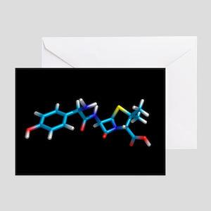Amoxicillin antibiotic drug molecule - Greeting Ca