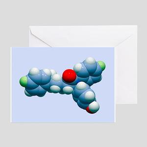 Ezetimibe drug molecule - Greeting Cards (Pk of 20