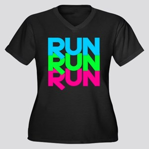 Run Run Run Women's Plus Size V-Neck Dark T-Shirt