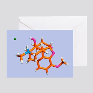 Painkilling drug molecule - Greeting Cards (Pk of