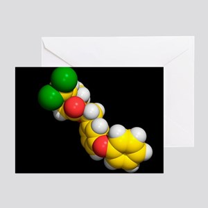 Permethrin insecticide molecule - Greeting Cards (