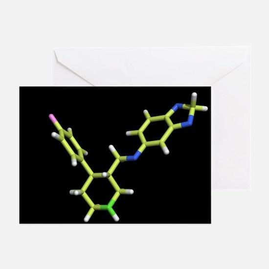 Seroxat (paroxetine) molecule - Greeting Cards (Pk