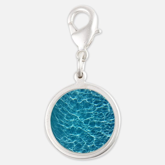 Cool Pool Water Silver Round Charm
