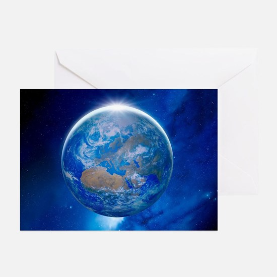Earth from space, artwork - Greeting Cards (Pk of