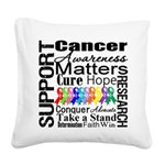 Support All Cancers Square Canvas Pillow