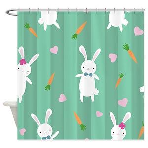 Vintage Easter Bunny Shower Curtains