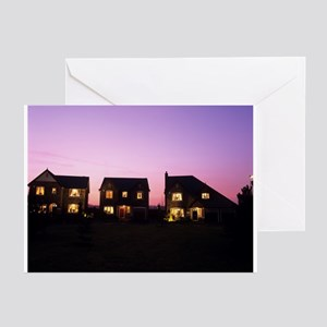 Houses at dusk - Greeting Cards (Pk of 20)