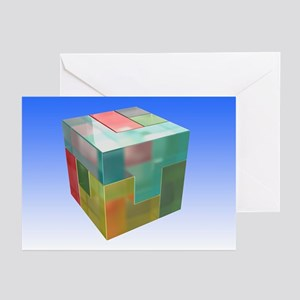 Brain twister cube, artwork - Greeting Cards (Pk o