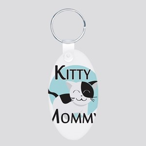 Kitty Mommy Cute Cat Aluminum Oval Keychain