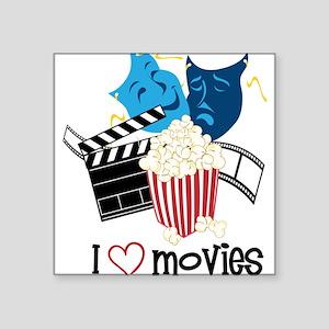 "I Love Movies Square Sticker 3"" x 3"""
