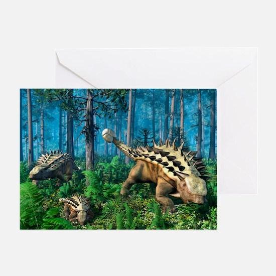 Ankylosaur family, artwork - Greeting Card
