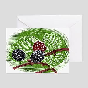 Blackberries, woodcut - Greeting Card