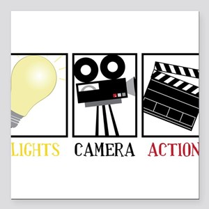 "Lights Camera Action Square Car Magnet 3"" x 3"""