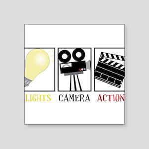 "Lights Camera Action Square Sticker 3"" x 3"""