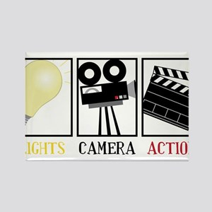Lights Camera Action Rectangle Magnet