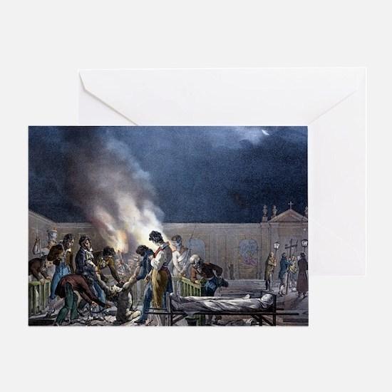 Burial of cholera victims, artwork - Greeting Card