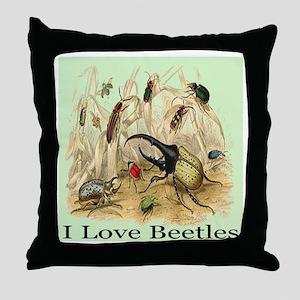 I Love Beetles Digitally Rema Throw Pillow