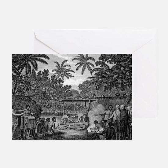 Human sacrifice in Tahiti, artwork - Greeting Card