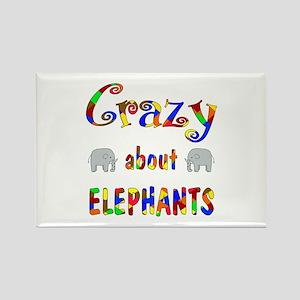 Crazy About Elephants Rectangle Magnet
