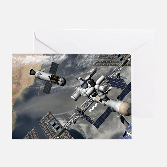 Lunar tug and the ISS, artwork - Greeting Card