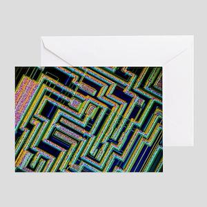 Microchip, light micrograph - Greeting Card
