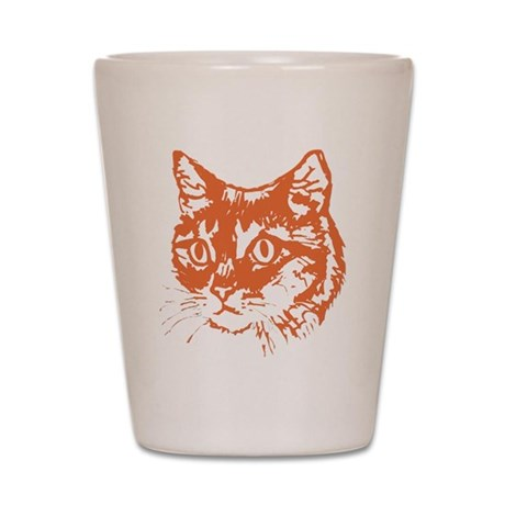Orange Kitty Cat Head Shot Glass
