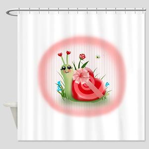 Candy Shell Snail Heart (txt) Shower Curtain